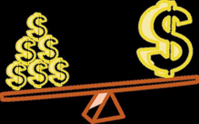 peníze na vahách, symbol dolaru